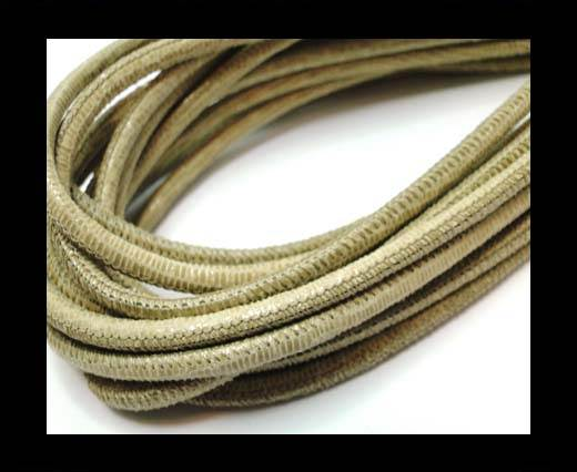 Buy Round stitched nappa leather cord 4mm-Lizard Light Send Paill. Transp at wholesale prices