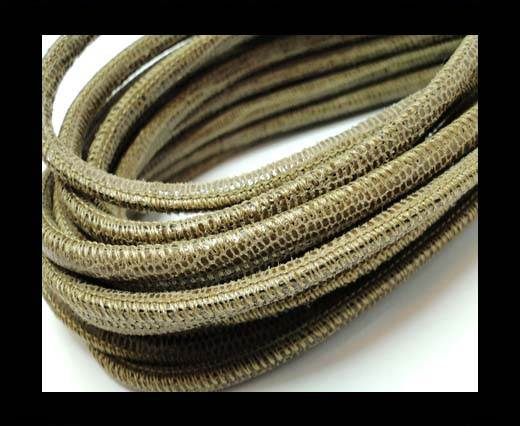 Buy Round stitched nappa leather cord 4mm-Lizard Send Paill. Transp at wholesale prices