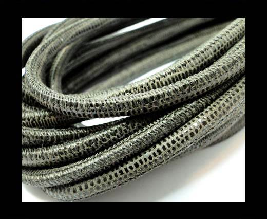 Buy Round stitched nappa leather cord 4mm-Lizard Taupe at wholesale prices