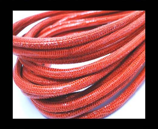 Buy Round stitched nappa leather cord 4mm-Snake Lizard Style Orange at wholesale prices