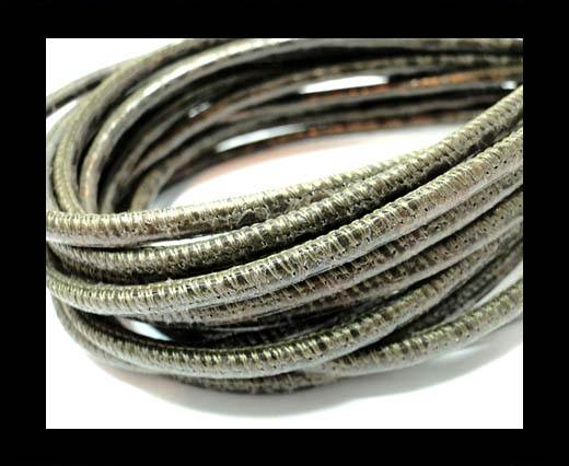 Buy Round stitched nappa leather cord 4mm-Python Dark Brown at wholesale prices