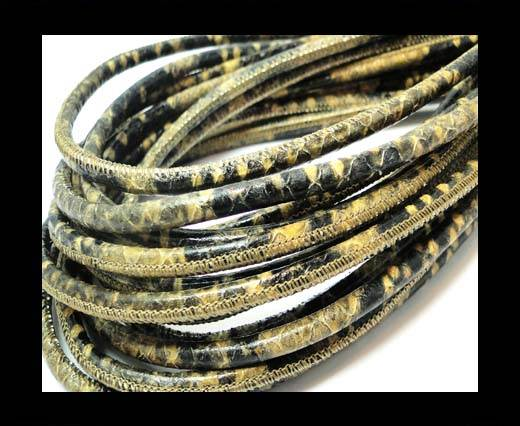 Buy Round stitched nappa leather cord 4mm-Python Taupe at wholesale prices