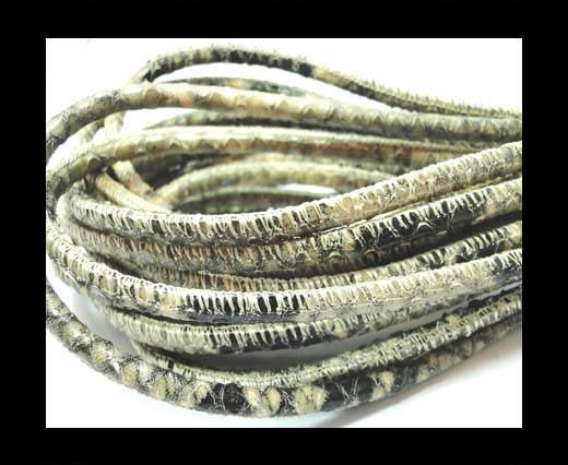 Buy Round stitched nappa leather cord 4mm-Pyton beige at wholesale prices