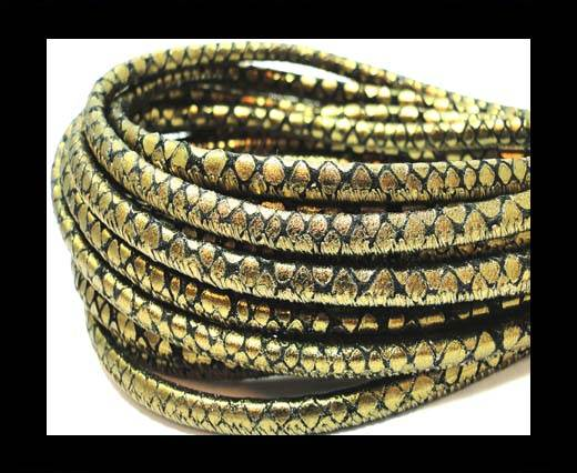 Buy Round stitched nappa leather cord 4mm-Pyton bronze at wholesale prices