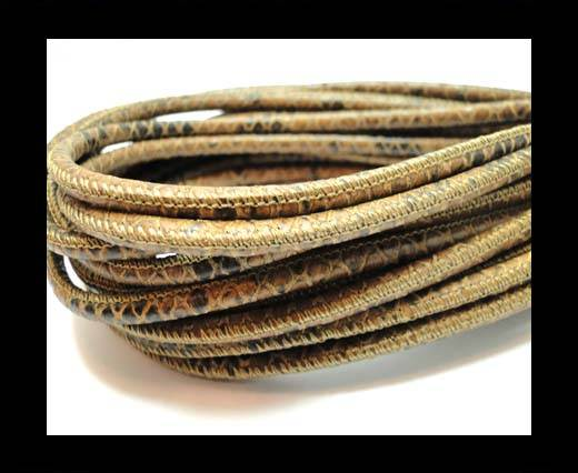Buy Round stitched nappa leather cord 4mm-Pyton brown at wholesale prices