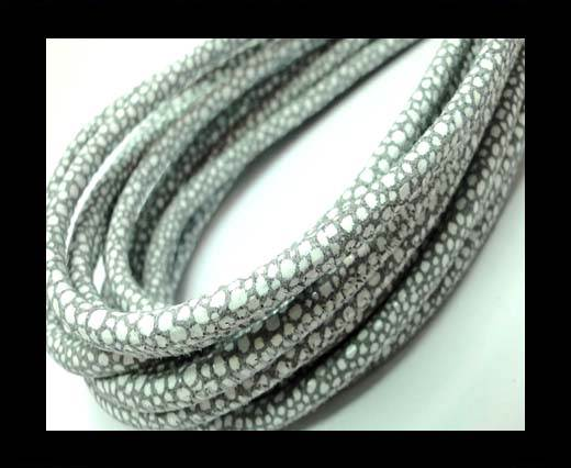 Buy Round stitched nappa leather cord 4mm- Raza Light Grey Paill. White at wholesale prices