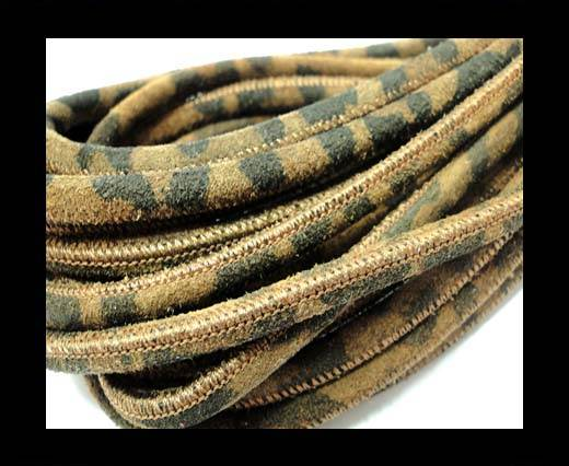 Buy Round stitched nappa leather cord 4mm-Brown Leopard at wholesale prices