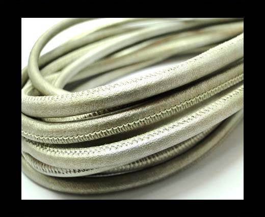 Buy Round stitched nappa leather cord 4mm-Grey Pearl at wholesale prices