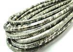 Round stitched nappa leather cord 4mm-Snake Patch Style Gold Grey