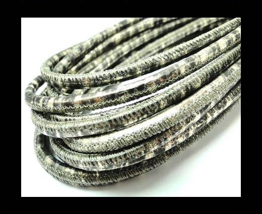 Buy Round stitched nappa leather cord 4mm-Snake Patch Style Gold Grey at wholesale prices
