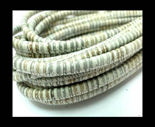 Buy Round stitched nappa leather cord 4mm-Spiral Style Multicolor at wholesale prices