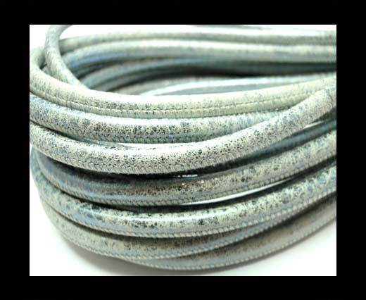 Buy Round stitched nappa leather cord 4mm-Vintage Black Silver at wholesale prices