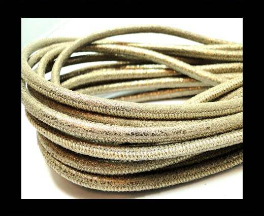 Buy Round stitched nappa leather cord 4mm- Vintage gold at wholesale prices