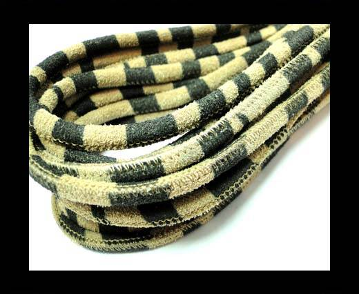 Buy Round stitched nappa leather cord 4mm- Zebra Light Print at wholesale prices