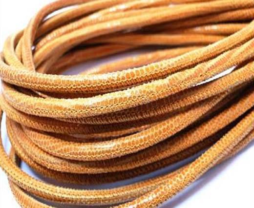 Round stitched nappa leather cord 4mm-Lizard Orange