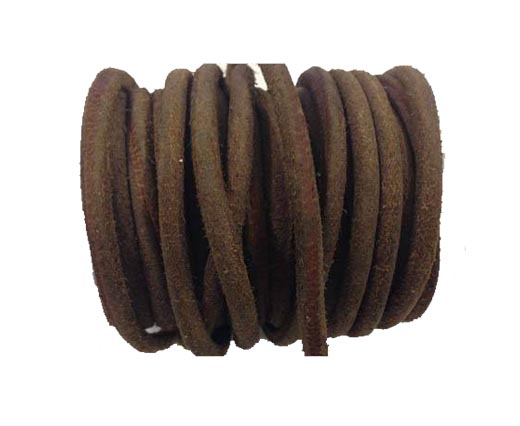 Rough Round Leather cords -5mm -Tan