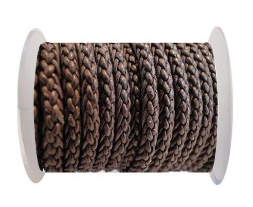 Round Braided Leather Cord - Brown -4mm