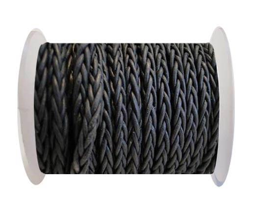 Round Braided Leather Cord - Dark Grey-4mm