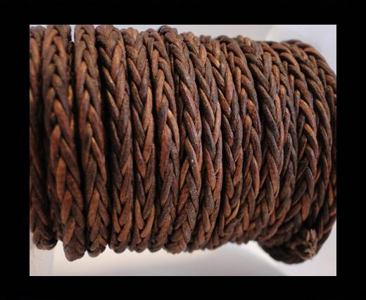 Round Braided Leather Cord- Vintage Cognac -4mm