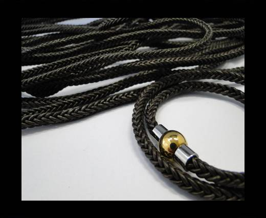 Round Braided Leather Cord-Dark Brown-4mm