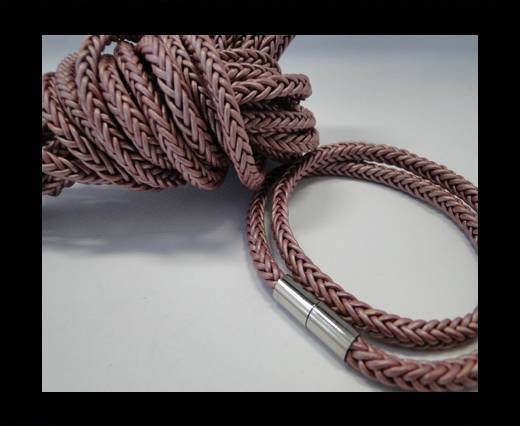 Round Braided Leather Cord-Light Violet-4mm
