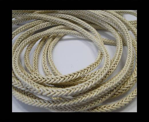 Round Braided Leather Cord-Pastel Yellow-4mm