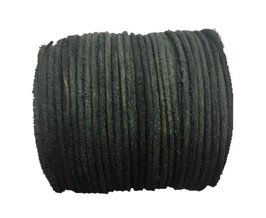Round Hairy Leather -2mm- Vintage black