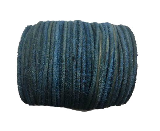 Round Hairy Leather -2mm- Vintage navy blue