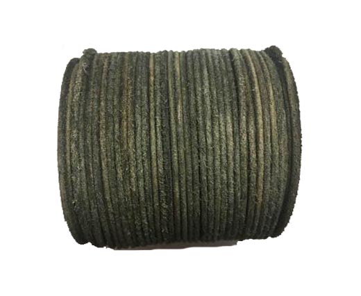 Round Hairy Leather -2mm- Vintage olive
