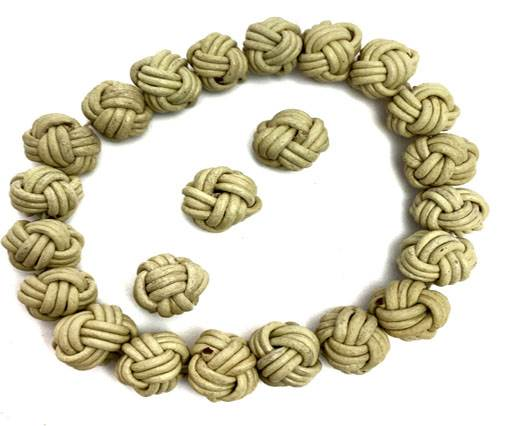 Leather Beads -12mm-Beige