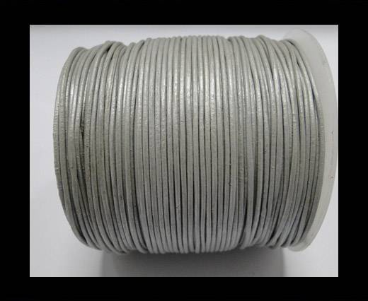 Round Leather Cord  Metallic Silver - 1mm