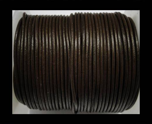 Round Leather Cord Coffee Brown - 3mm