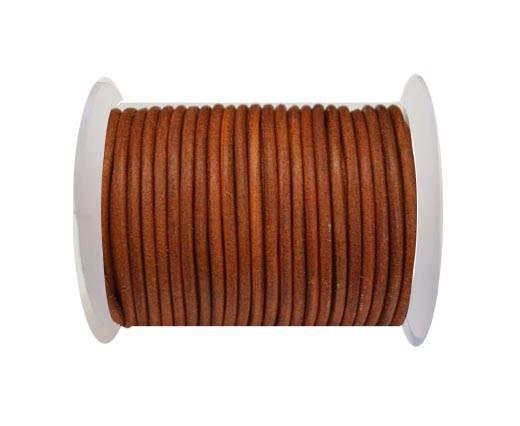 Round Leather Cord 4mm-Vintage Orange