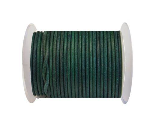 Round Leather Cord 4mm-Vintage Turquoise