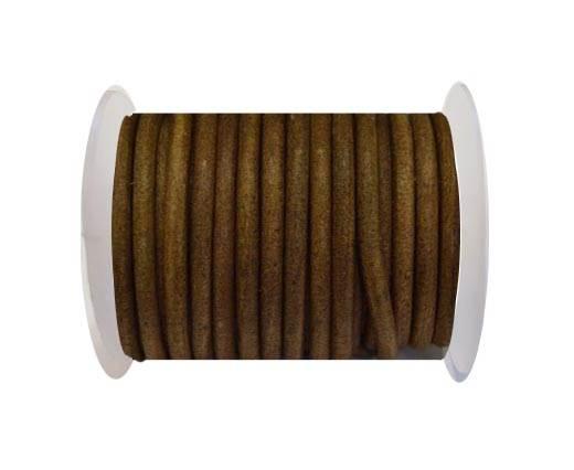 Round Leather Cord - Dark natural-5mm