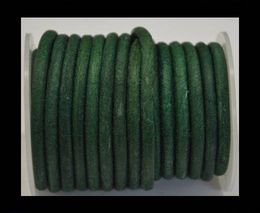 Round Leather Cord - Vintage Green-5mm