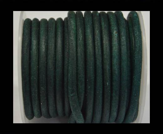 Round Leather Cord - Vintage Turquoise-5mm