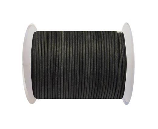Round Leather Cord -Vintage Black- 2mm