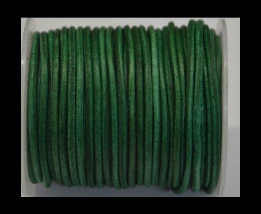 Round Leather Cord -Vintage Fern green- 3mm