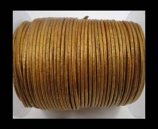 Buy Round Leather Cord-1,5mm-metallic gold at wholesale prices