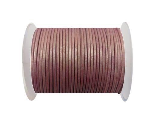Round Leather Cord - 1.5 - Metallic Rose