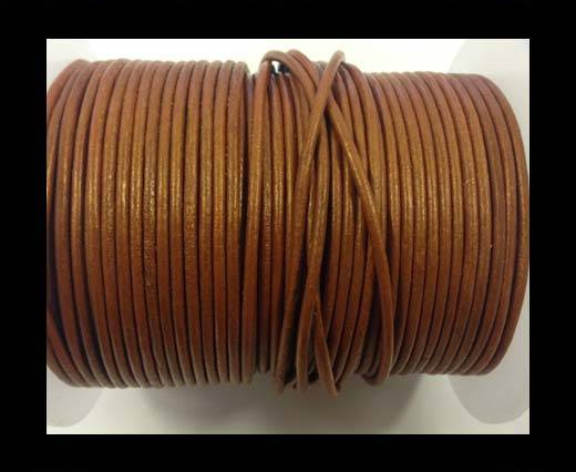 Buy Round leather cord-2mm-metallic dark yellow at wholesale prices