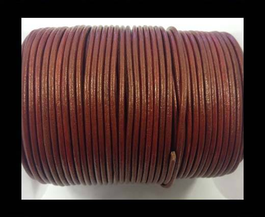 Buy Round leather cord-2mm-Metallic Red at wholesale prices
