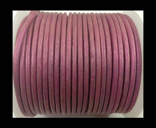 Round leather cord-3mm-metallic dark pink