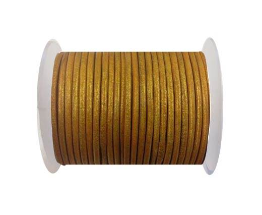 Round leather cord-3mm-metallic gold