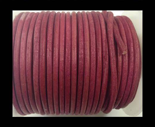 Round leather cord-3mm-vintage dark pink