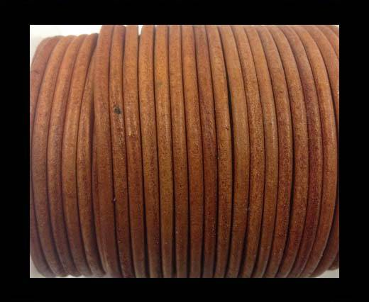 Round leather cord-3mm-Vintage orange