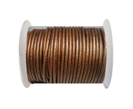Round Leather Cord 4mm-Metallic Brown