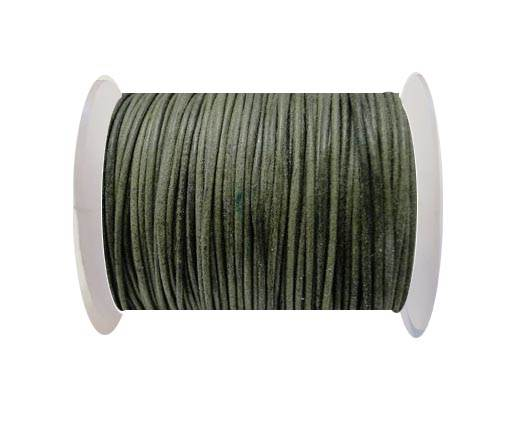 Round Leather Cord -1mm- Moss Green (P_061)