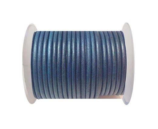 Round Leather Cord 4mm-SE. Vintage Light Blue